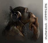 Chimpanzee Listening To Music....