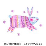 cute cartoon bunny in a pink... | Shutterstock . vector #1599992116