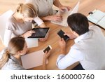 group of business people using... | Shutterstock . vector #160000760
