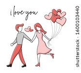man hugging a women. couples...   Shutterstock .eps vector #1600103440