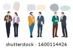 people talking together with... | Shutterstock .eps vector #1600114426