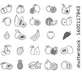 25 icons of exotic fruits and... | Shutterstock .eps vector #1600117843