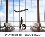 businessman in airport and... | Shutterstock . vector #160014620