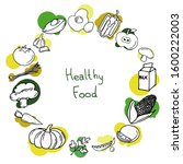 hand drawn healthy food... | Shutterstock .eps vector #1600222003