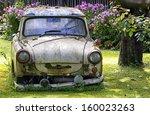 An Old Trabant At A Garden