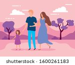 parents with daughter in the... | Shutterstock .eps vector #1600261183