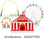 circus tent and attractions... | Shutterstock . vector #160027550