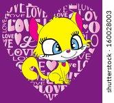 cute cat t shirt graphics cute... | Shutterstock .eps vector #160028003