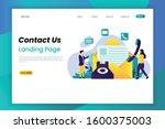 contact us flat vector... | Shutterstock .eps vector #1600375003