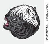 Yin Yang Wolf Vector Logo