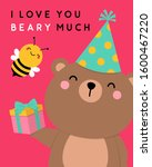 cute teddy bear with little... | Shutterstock .eps vector #1600467220