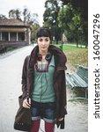 beautiful young woman walking... | Shutterstock . vector #160047296