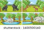 background scenes of animals in ... | Shutterstock .eps vector #1600500160