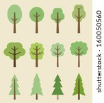 tree icon set   cute trees... | Shutterstock .eps vector #160050560