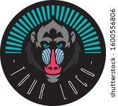Baboon Head Vector Drawing Badge
