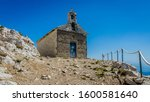 Europe, Croatia. Chapel in top of the hull. This hill is 1762 meters high