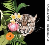 graceful leopard and tropical...   Shutterstock .eps vector #1600590409