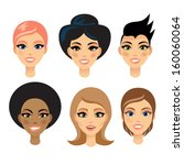 six different beautiful woman... | Shutterstock .eps vector #160060064