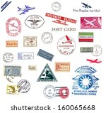 vintage airmail labels and... | Shutterstock . vector #160065668