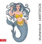 mermaid posing  isolated on... | Shutterstock .eps vector #1600720126