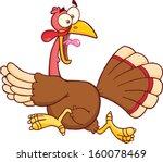 turkey escape cartoon mascot... | Shutterstock .eps vector #160078469