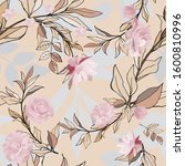 seamless pattern with pink...   Shutterstock .eps vector #1600810996