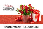 Stock photo red roses with green leaves isolated on white background 160086083