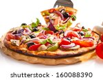 appetizing pizza with mushrooms ... | Shutterstock . vector #160088390