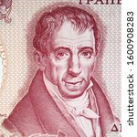Adamantios Korais face portrait on 100 Greece drachma (1978) banknote close up. Father of Modern Greek literature and a major figure in the Greek Enlightenment.
