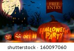 halloween party poster with... | Shutterstock .eps vector #160097060