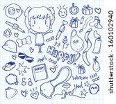 kawaii doodle   Shutterstock .eps vector #160102940