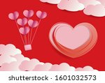 papper cut banner with hearts... | Shutterstock .eps vector #1601032573
