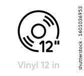 vinyl 12 inch icon. editable... | Shutterstock .eps vector #1601036953