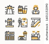 airport vector color icons set | Shutterstock .eps vector #1601152090