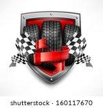 racing symbols on shield  tires ... | Shutterstock .eps vector #160117670