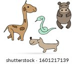 doodle animal set icon isolated ... | Shutterstock .eps vector #1601217139