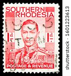 Small photo of MOSCOW, RUSSIA - OCTOBER 1, 2019: Postage stamp printed in South Rhodesia shows King George VI (1895-1952), serie, 1 d - Southern Rhodesian penny, circa 1937