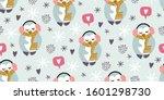 cute penguins with headphones ... | Shutterstock .eps vector #1601298730