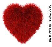 Red Fur Heart. 3d Illustration...