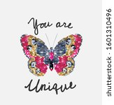 unique slogan with butterfly... | Shutterstock .eps vector #1601310496