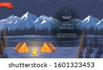 flat night camping background... | Shutterstock .eps vector #1601323453