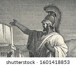 Small photo of Pericles Funeral Oration on old Greece 50 drachma (1955) banknote. Famous historical speech of Pericles at the end of first year of the Peloponnesian War.