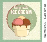 vintage card with ice cream cup.... | Shutterstock .eps vector #160142453
