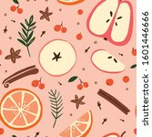 mulled wine ingredients on a... | Shutterstock .eps vector #1601446666