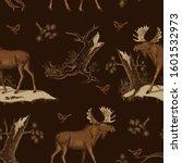 moose  bird  old pine and... | Shutterstock .eps vector #1601532973