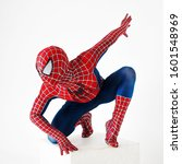 Small photo of SEINT-PETERSBURG, RUSSIA - JUNE 29, 2016: Spider-man, a cosplay comic character. Guy cosplayer at cosplay Convention, spider-man costume from marvel