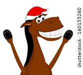 cheerful horse in the christmas ... | Shutterstock .eps vector #160155260