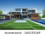 3d render of house with green... | Shutterstock . vector #160155269