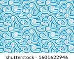 ocean waves seascape deep blue... | Shutterstock .eps vector #1601622946