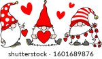 cute gnomes with hearts in red... | Shutterstock .eps vector #1601689876